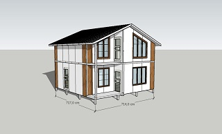 Вид двухэтажного дома из сэндвич-панелей